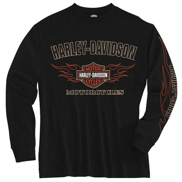 Harley-Davidson Big Boys' Tee, Long Sleeve Flaming Bar & Shield, Black 1590605 - Wisconsin Harley-Davidson