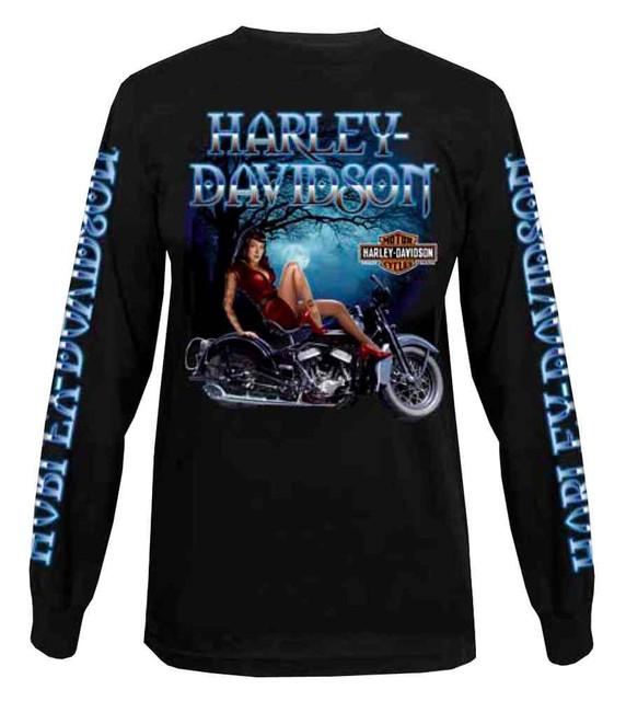 Harley-Davidson Men's Long Sleeve Shirt, Winter Night Pin-Up Lady, Black - Wisconsin Harley-Davidson