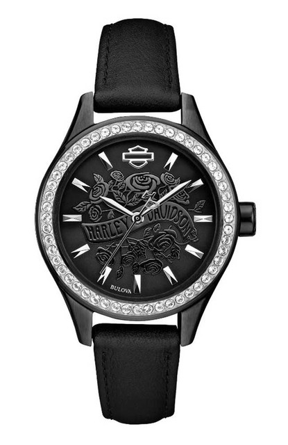 Harley-Davidson Women's Flower Power Black Leather Wrist Watch 78L119 - Wisconsin Harley-Davidson