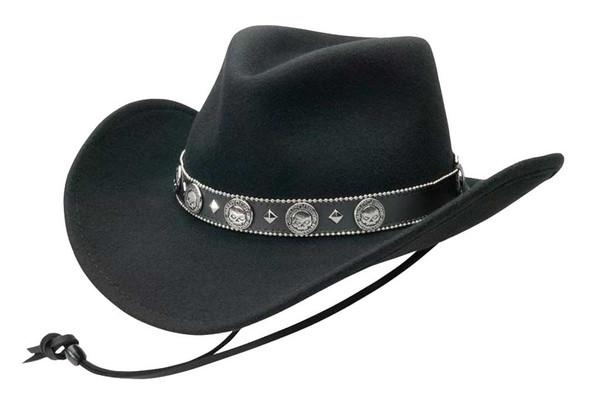 Harley-Davidson Men's Willie G Skull Crushable Wool Cowboy Hat, Black HD-196 - Wisconsin Harley-Davidson