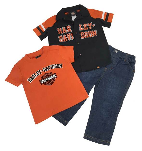 Harley-Davidson Baby Boys' Velvet H-D Denim Pant Set, 3 Piece Set Black 2060488 - Wisconsin Harley-Davidson