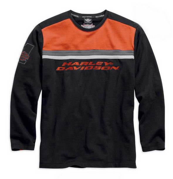 Harley-Davidson Men's Knit Shirt, Embroidered Colorblocked, Orange 99006-15VM - Wisconsin Harley-Davidson