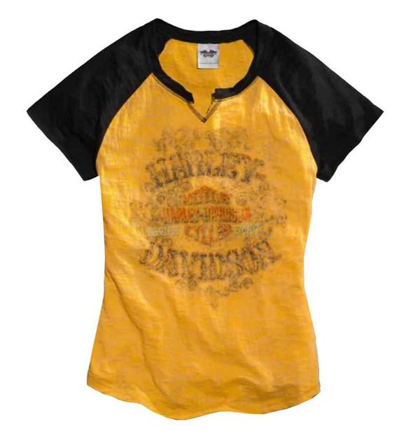 Harley-Davidson Women's Tee, Skull & Crossbones Raglan, Bright Yellow 96012-15VW - Wisconsin Harley-Davidson