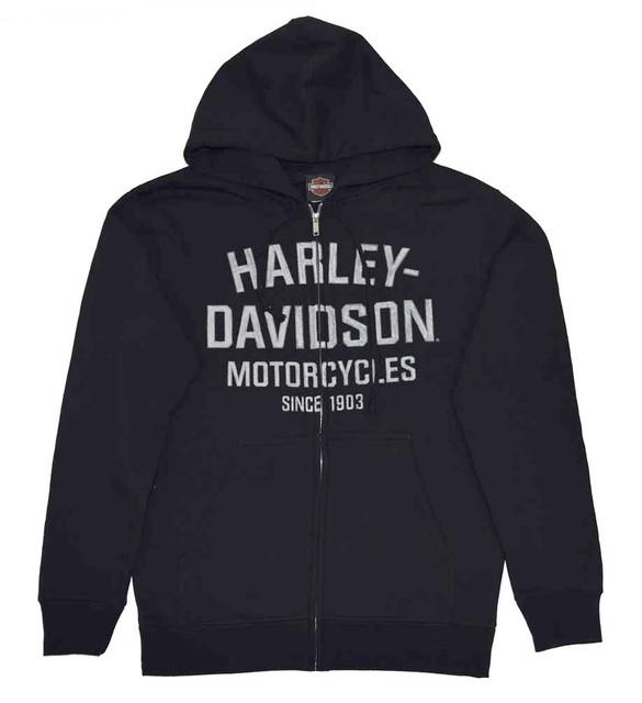 Harley-Davidson Men's Hooded Sweatshirt, Distressed Script Black Hoodie 30294033 - Wisconsin Harley-Davidson