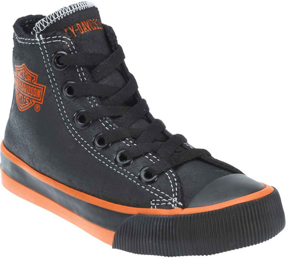Harley-Davidson Kid's Patch Black Hi-Top Black Athletic Sneakers. D61004 - Wisconsin Harley-Davidson