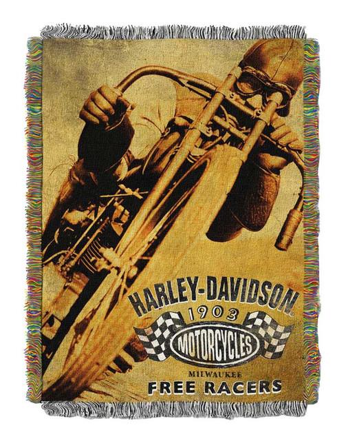 Harley-Davidson Free Racer Tapestry Throw Blanket, 48 x 60 inch NW282834 - Wisconsin Harley-Davidson
