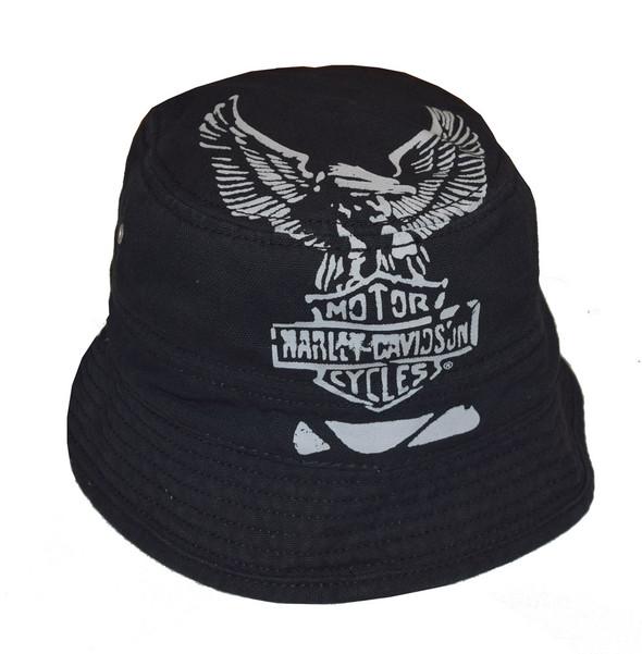 Harley-Davidson Men's Bucket Hat, Foldable Cotton Canvas Cap, Black HD-402 - Wisconsin Harley-Davidson