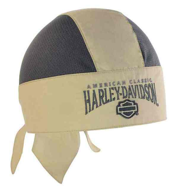 Harley-Davidson Men's Head Wrap, Embroidered H-D Script, Khaki/Gray HW51612 - Wisconsin Harley-Davidson