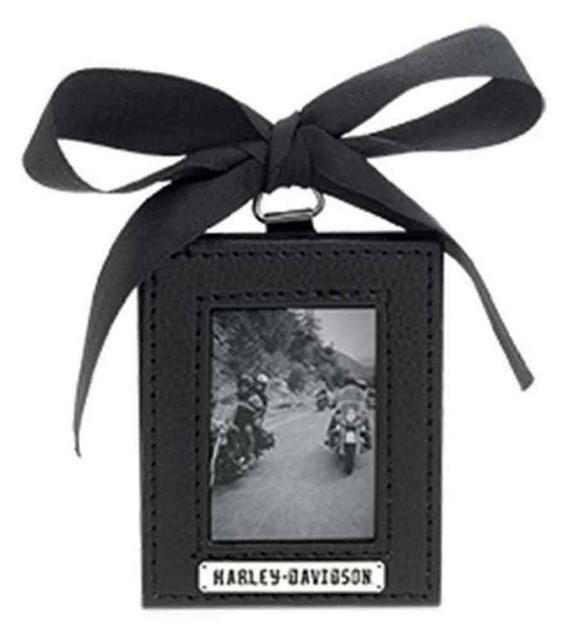 Harley-Davidson Leather Photo Frame Christmas Ornament, Black/Silver. 96838-16V - Wisconsin Harley-Davidson