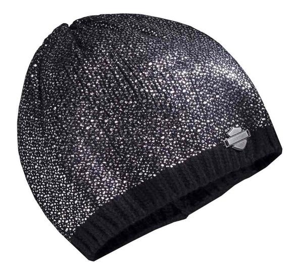 Harley-Davidson Women's Allover Metallic Foil Knit Beanie Hat, Black 97839-16VW - Wisconsin Harley-Davidson