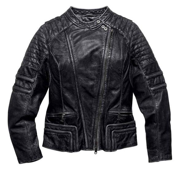 Harley-Davidson Women's Black Label Core Washed Leather Biker Jacket 98116-16VW - Wisconsin Harley-Davidson