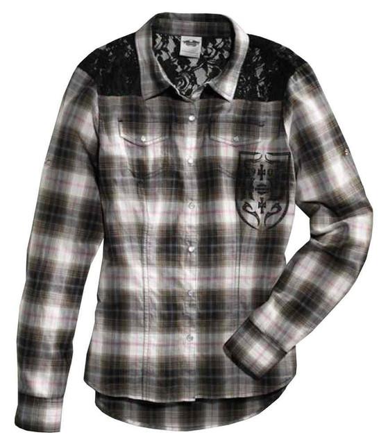 Harley-Davidson Women's Lace Yoke Long Sleeve Plaid Woven Shirt 96106-16VW - Wisconsin Harley-Davidson