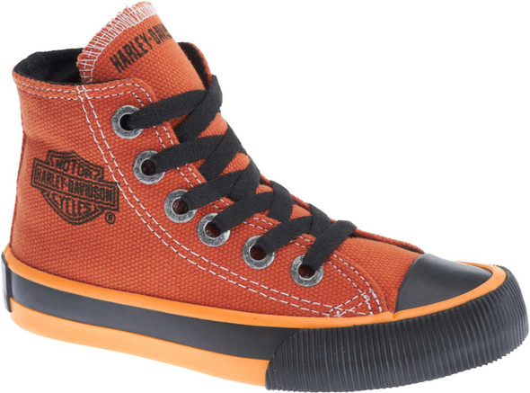 Harley-Davidson Kid's 3-Inch Patch Orange Hi-Top Athletic Sneakers. D61034 - Wisconsin Harley-Davidson