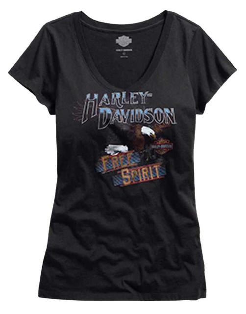 Harley-Davidson Women's Free Spirit Eagle V-Neck Tee T-Shirt, Black. 96329-16VW - Wisconsin Harley-Davidson