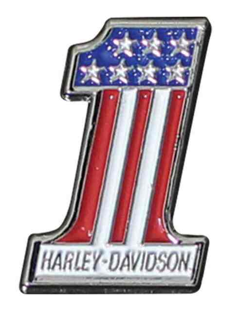 Harley-Davidson #1 RWB Logo Lapel Pin, 2D Die Cast, Silver Finish P153203 - Wisconsin Harley-Davidson