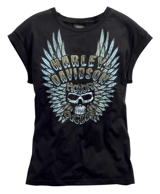 Harley-Davidson Women's Wing Skull Top Tee T-Shirt, Black. 96122-15VW - Wisconsin Harley-Davidson