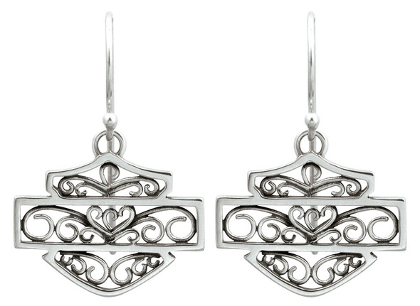 Harley-Davidson Women's Bali Style Filigree Bar & Shield Earrings HDE0280 - Wisconsin Harley-Davidson