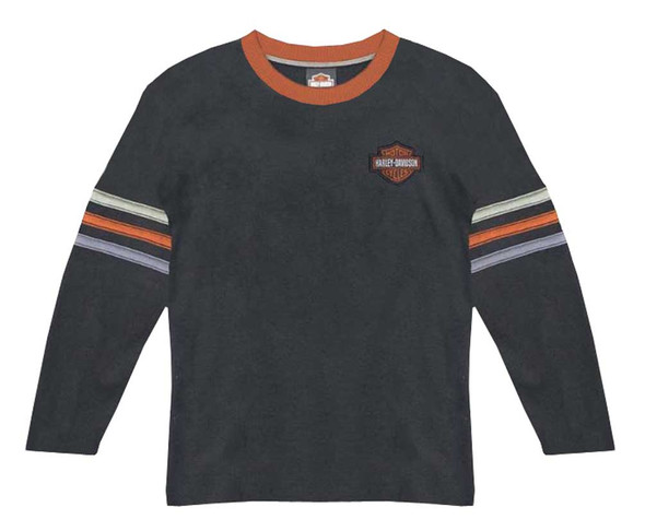 Harley-Davidson Little Boys' Long Sleeve Waffle Knit Thermal Tee, Black 1081688 - Wisconsin Harley-Davidson