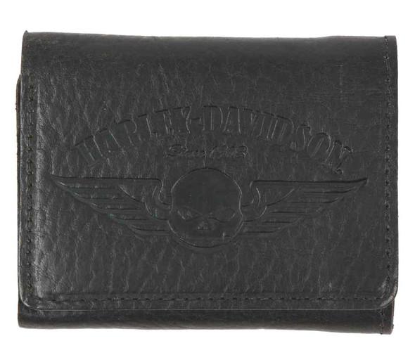 Harley-Davidson Men's American Bison Skull Tri-Fold Wallet, Black US1699L-BLACK - Wisconsin Harley-Davidson