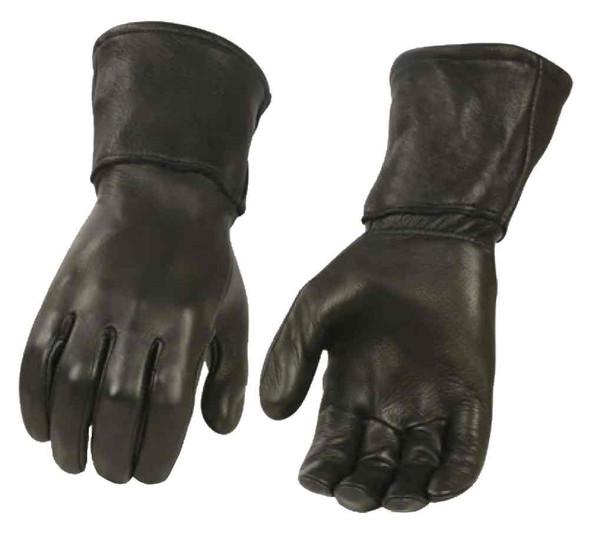 Milwaukee Leather Men's Deerskin Leather Thermal Gauntlet Gloves, Black G317 - Wisconsin Harley-Davidson