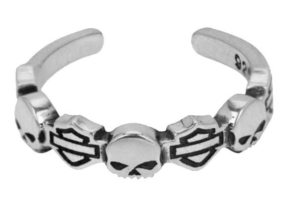 Harley-Davidson Bar & Shield Skull Silver Toe Ring HDT0013 - Wisconsin Harley-Davidson