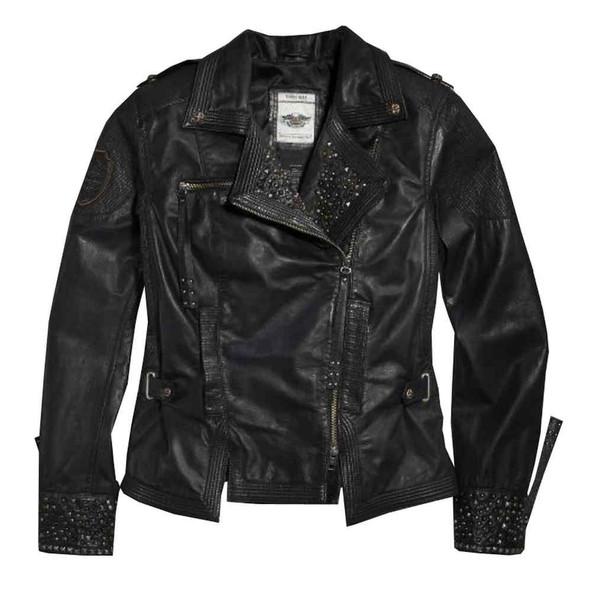 Harley-Davidson Women's Winsome Studded Leather Biker Jacket 97101-16VW - Wisconsin Harley-Davidson