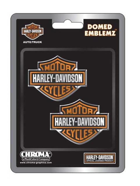 Harley-Davidson Domed Orange Bar & Shield Emblemz Decals - Set of 2 CG5507 - Wisconsin Harley-Davidson