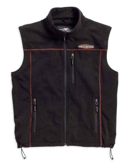 Harley-Davidson Men's Fleece Mid-Layer Vest, Windproof Panels Black. 98567-16VM - Wisconsin Harley-Davidson