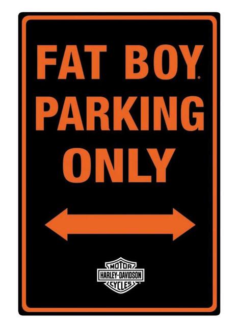 Harley-Davidson Embossed Fat Boy Motorcycle Packing Only Tin Sign, Black 2010981 - Wisconsin Harley-Davidson