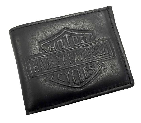 Harley-Davidson Men's Embossed Bar & Shield Bi-fold Wallet Black Leather FB309H - Wisconsin Harley-Davidson