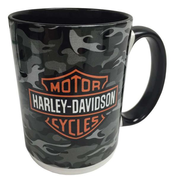 Harley-Davidson Camo Flames Bar & Shield 2-Sided Coffee Mug, Black HD-BSC-1772B - Wisconsin Harley-Davidson
