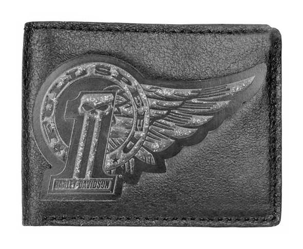 Harley-Davidson Men's Black Label Wing #1Skull Billfold Wallet BLK UN7516L-Black - Wisconsin Harley-Davidson