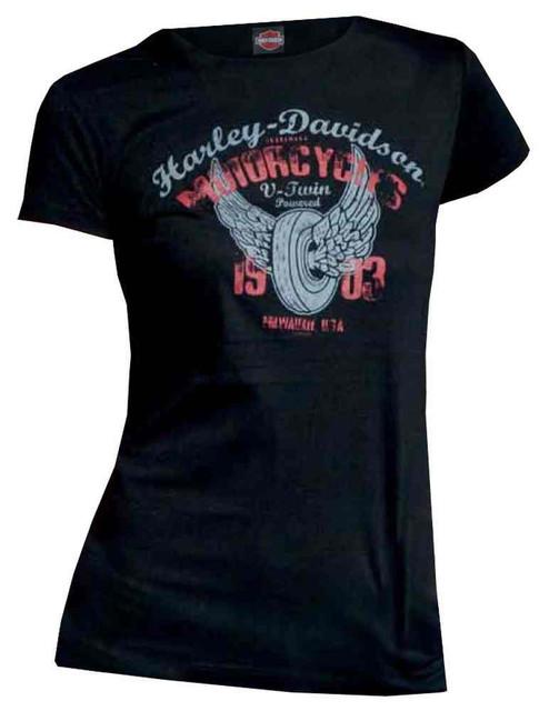 Harley-Davidson Women's Juniors T-Shirt, Distressed Powered Wheel Rubber, Black - Wisconsin Harley-Davidson