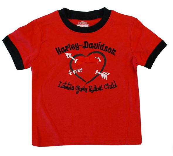 Harley-Davidson Little Girls' Printed Rebel Club Tee Red & Black 4121176 - Wisconsin Harley-Davidson