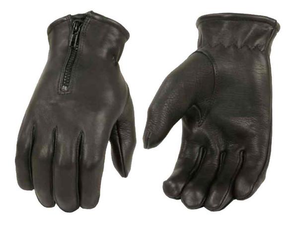 Milwaukee Leather Men's Deerskin Leather Zip Full-Finger Gloves, Black SH867 - Wisconsin Harley-Davidson