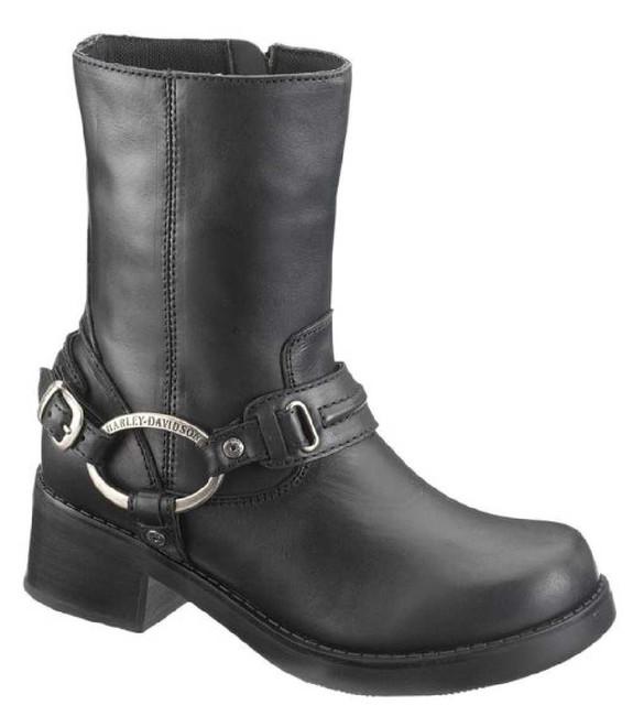 Harley-Davidson Women's Christa Black 8-Inch Harness Boots, 2-Inch Heel D85298 - Wisconsin Harley-Davidson