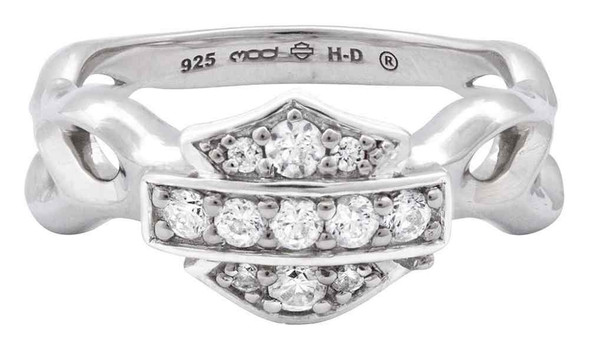 Harley-Davidson Women's Ring, Inferior Flames Embellished B&S, Silver HDR0358 - Wisconsin Harley-Davidson