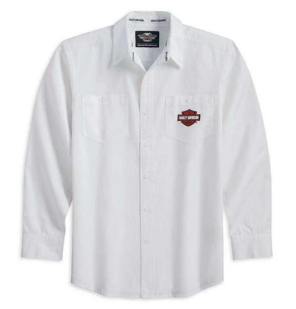 Harley-Davidson Men's Tonal Flames Long Sleeve Woven Shirt White 99073-12VM - Wisconsin Harley-Davidson