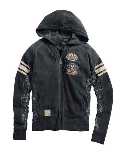 Harley-Davidson Women's Lace Inset Skull Zip-Up Hoodie, Washed Black 96003-15VW - Wisconsin Harley-Davidson
