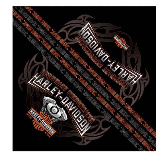 Harley-Davidson Men's Bandana, Engine Flames Bar & Shield , Black BA09830 - Wisconsin Harley-Davidson