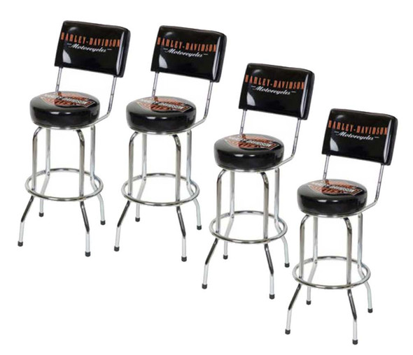 Harley-Davidson Bar & Shield Bar Stool With Back Rest HDL-12204 SET OF 4 - Wisconsin Harley-Davidson