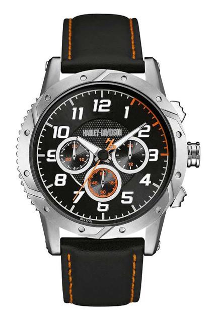 Harley-Davidson Men's Chronograph Brake Plate Watch, Stainless/Leather 76B171 - Wisconsin Harley-Davidson