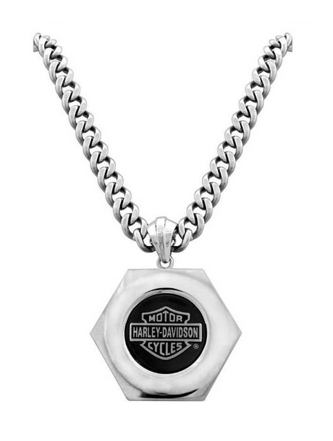Harley-Davidson Men's Necklace, Bar & Shield Bolt, Stainless Steel HSN0022 - Wisconsin Harley-Davidson