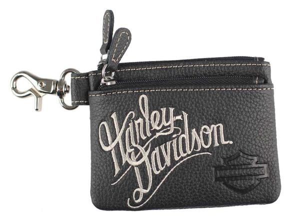 Harley-Davidson Women's Embroidered H-D Script Zipper Coin Pouch, ZWL3895-CRMBLK - Wisconsin Harley-Davidson