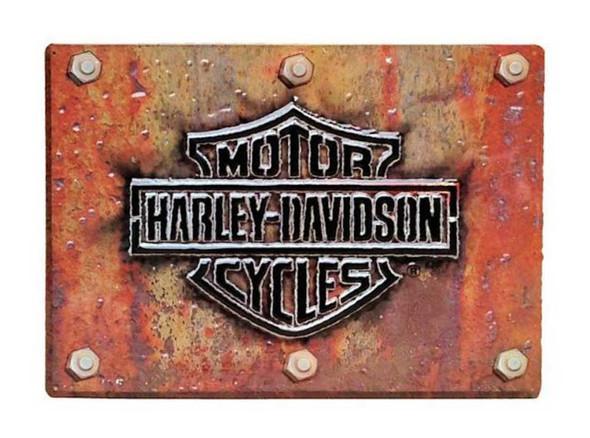 Harley-Davidson Made Plate Bar & Shield Tin Sign 17 x 12.5 Rust Look 2010831 - Wisconsin Harley-Davidson