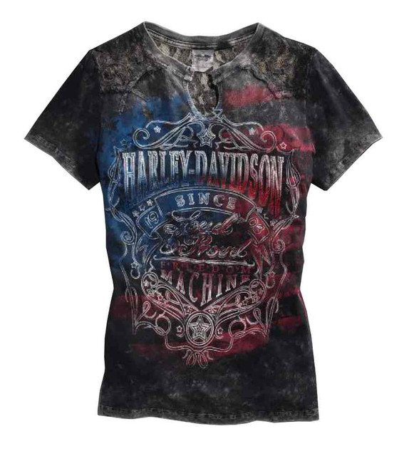 Harley-Davidson Women's Loud & Proud Tee, Lace Accent American Flag 96026-15VW - Wisconsin Harley-Davidson