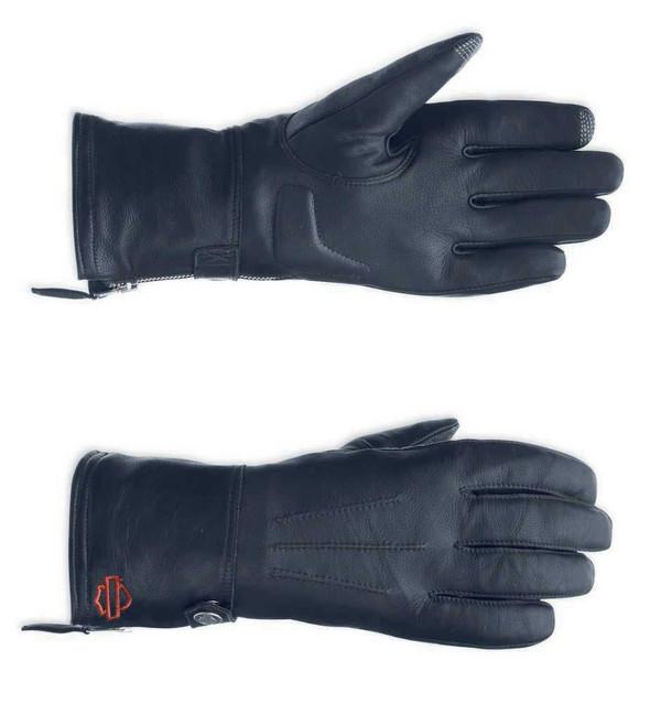 Harley-Davidson Women Leather Touchscreen Tech Gauntlet Riding Gloves 98263-13VW - Wisconsin Harley-Davidson