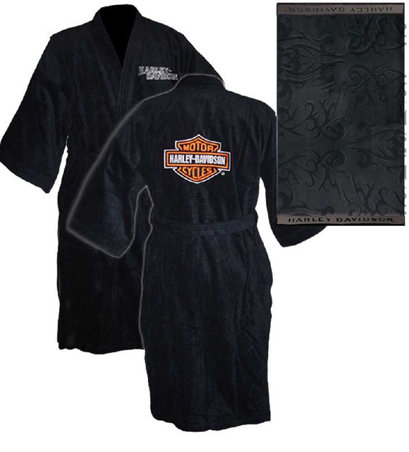 Harley-Davidson Unisex Black Kimono Robe Bathrobe w/ Bath Towel 6055 - Wisconsin Harley-Davidson