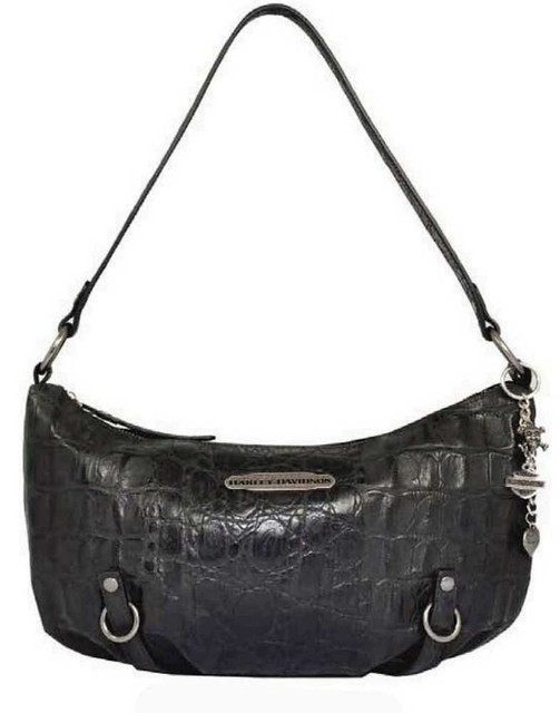 Harley Davidson Womens Black Hammered Croco Shoulder Bag Purse HC7942L-BLK - Wisconsin Harley-Davidson