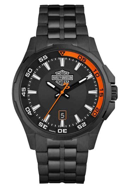 Harley-Davidson Men's Dashboard Bar & Shield Watch, Black Stainless Steel 78B141 - Wisconsin Harley-Davidson